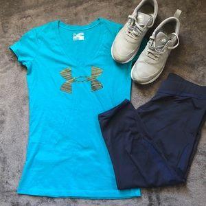 Under Armour Blue V-neck T-shirt